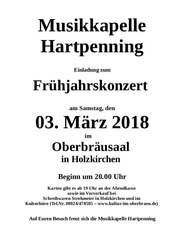Einladung zum Frühjahrskonzert 2018 – Musikkapelle Hartpenning